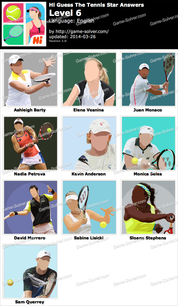 Hi Guess The Tennis Star Level 6