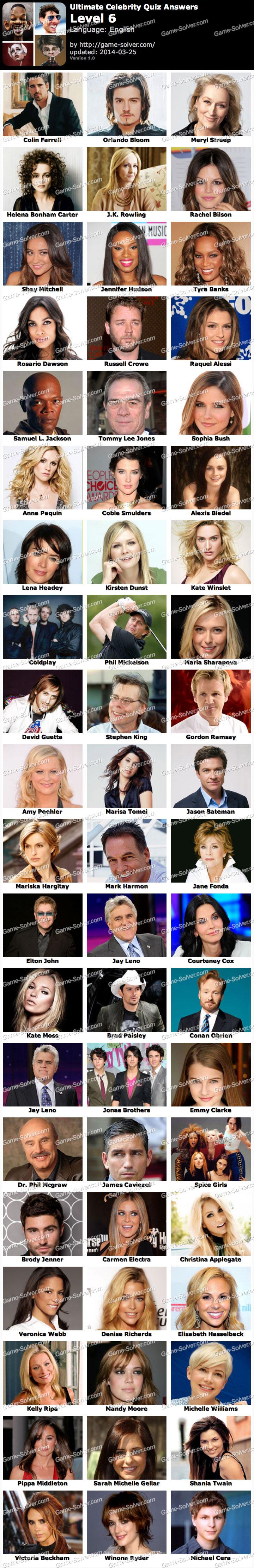 Ultimate Celebrity Quiz Level 6