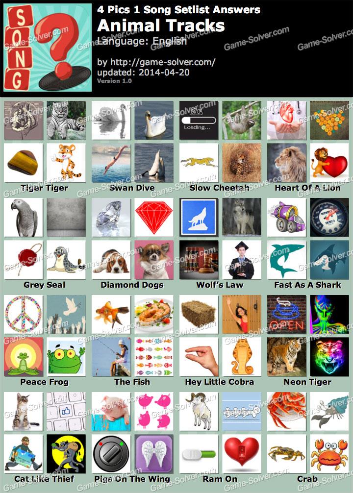 4 Pics 1 Song Animal Tracks Answers