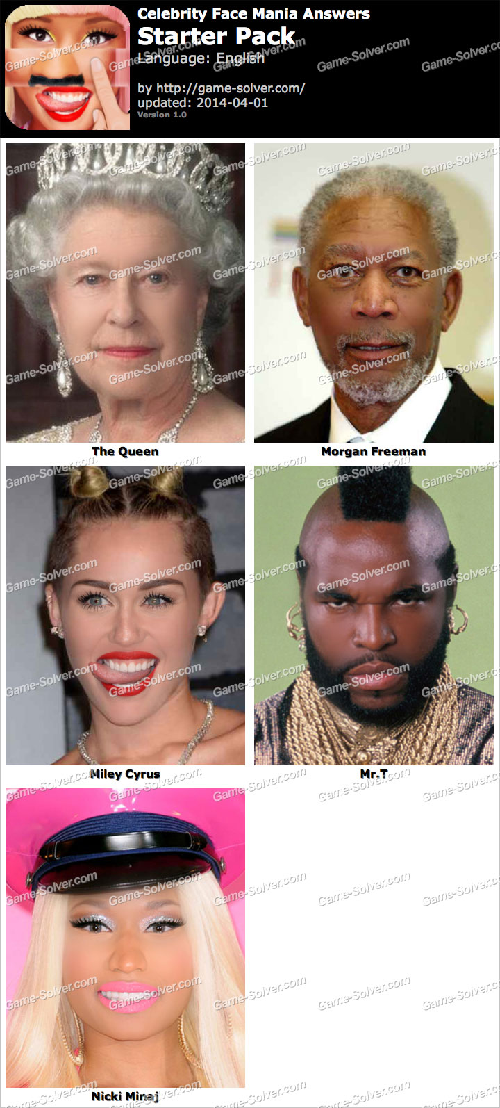 Celebrity Face Mania Starter Pack