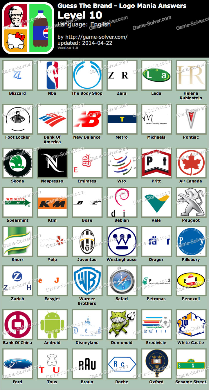 Guess The Brand Logo Mania Level 10