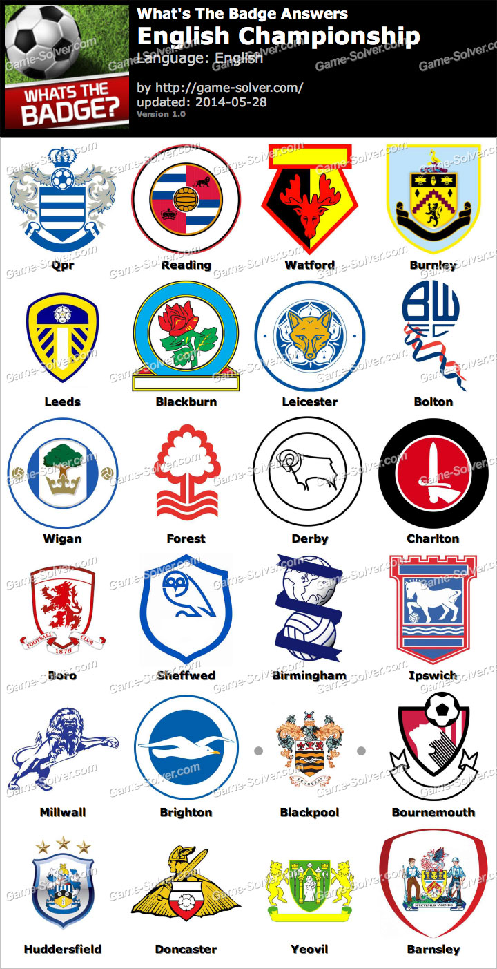 Whats The Badge English Championship Answers