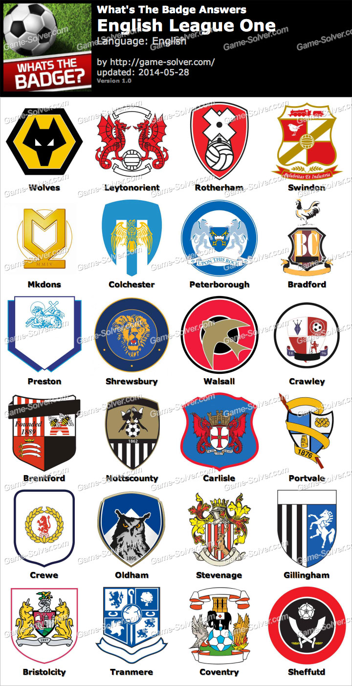 Whats The Badge English League One Answers