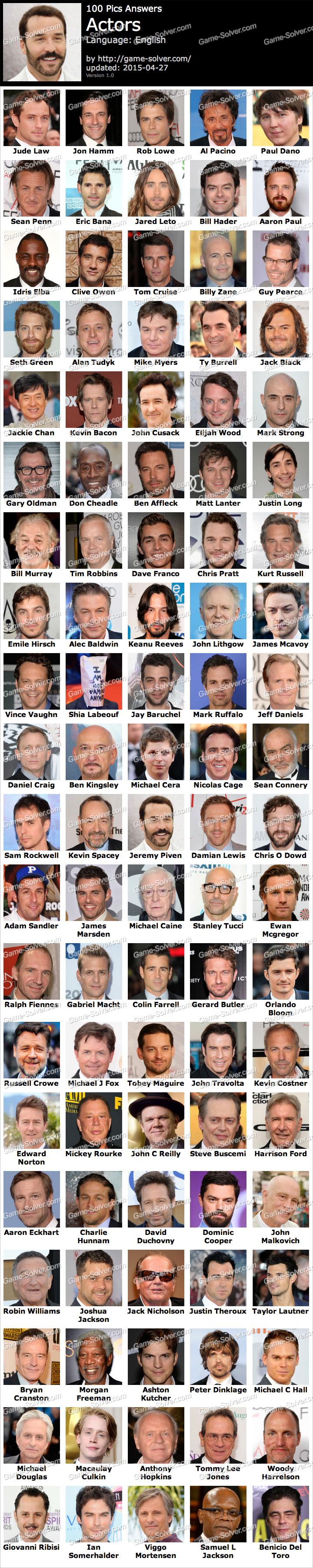 100 Pics Answers Movie Stars : answers, movie, stars, Actors, Solver