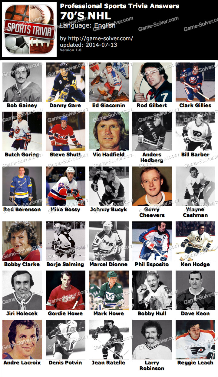 Professional Sports Trivia 70s NHL Answers