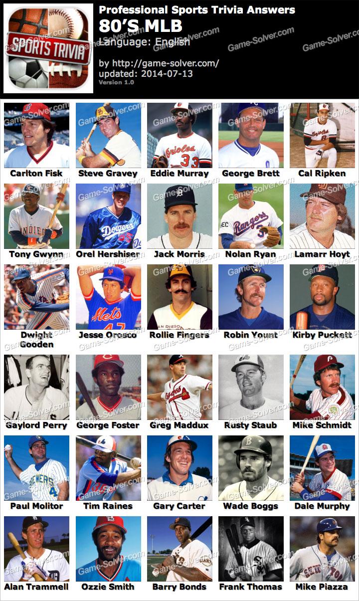 Professional Sports Trivia 80s MLB Answers