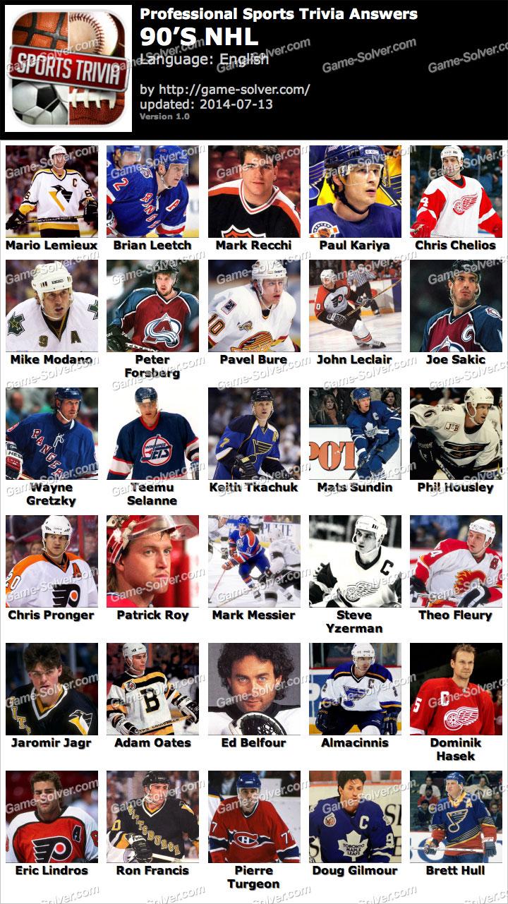 Professional Sports Trivia 90s NHL Answers