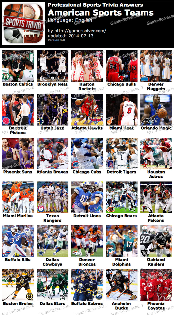 Professional Sports Trivia American Sports Teams Answers