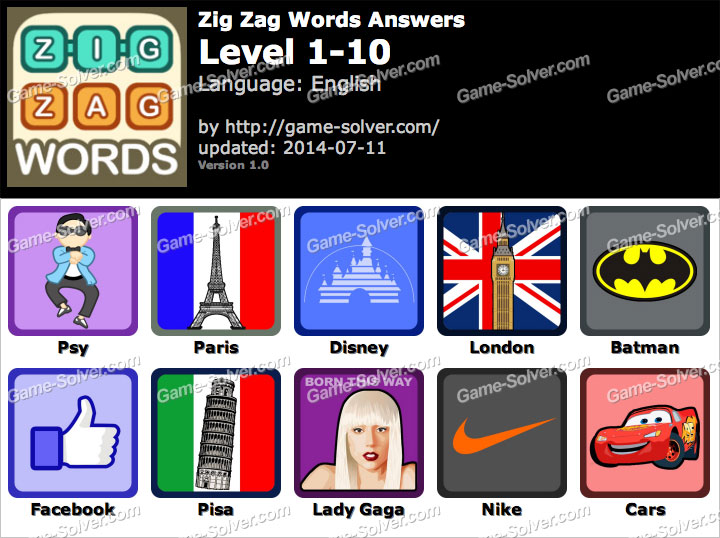 Zig Zag Words Level 1-10