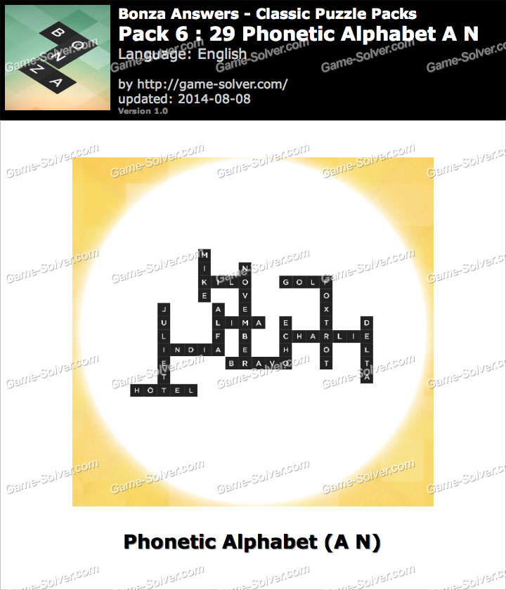 Bonza Answers Classic Puzzle Pack 6 29 Phonetic Alphabet A N Game Solver