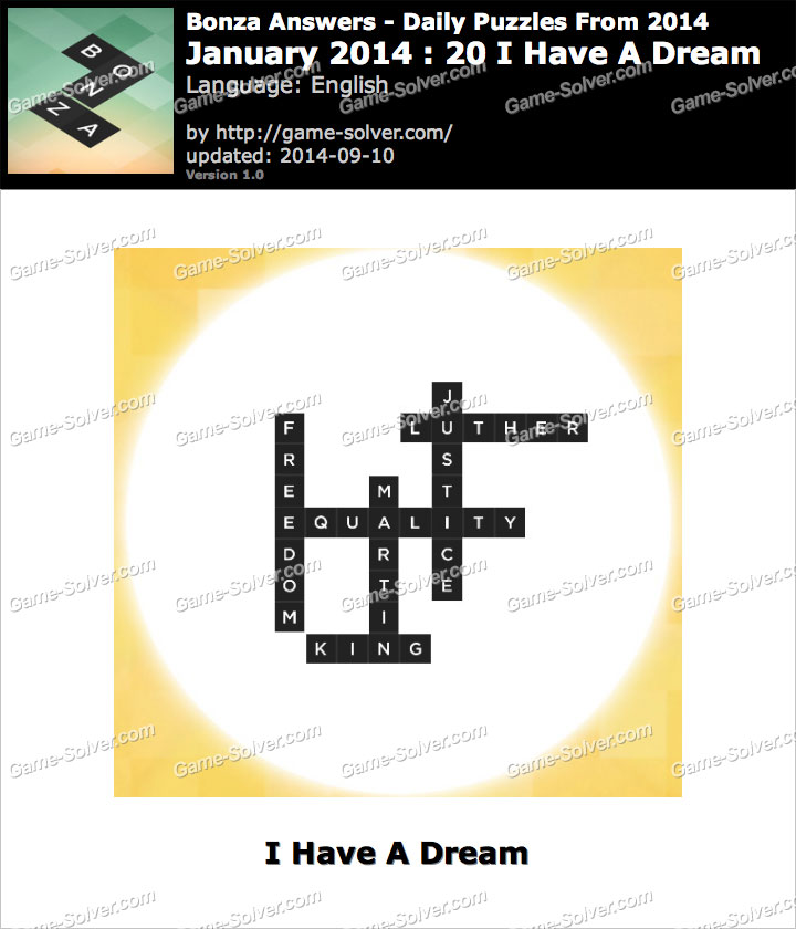 Bonza Answers January 2014 20 I Have A Dream - Game Solver