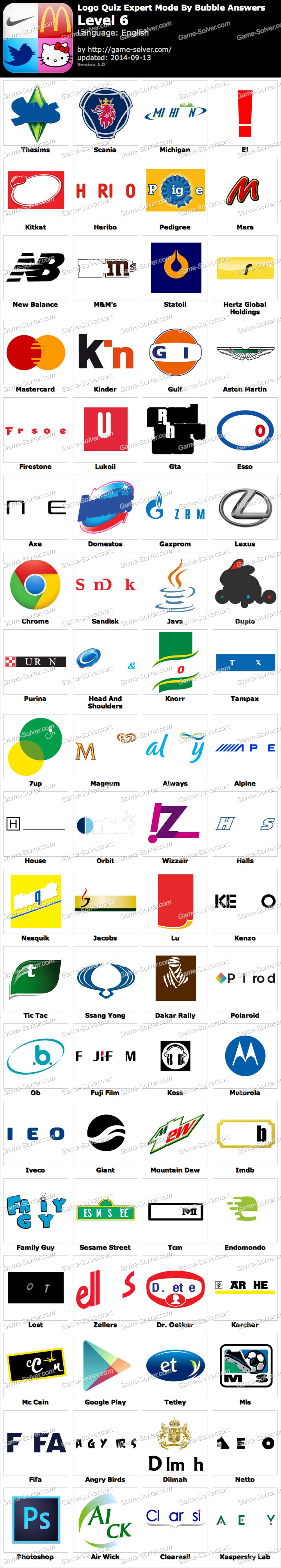 Logo Game Answers Level 6 : answers, level, Expert, Bubble, Level, Solver