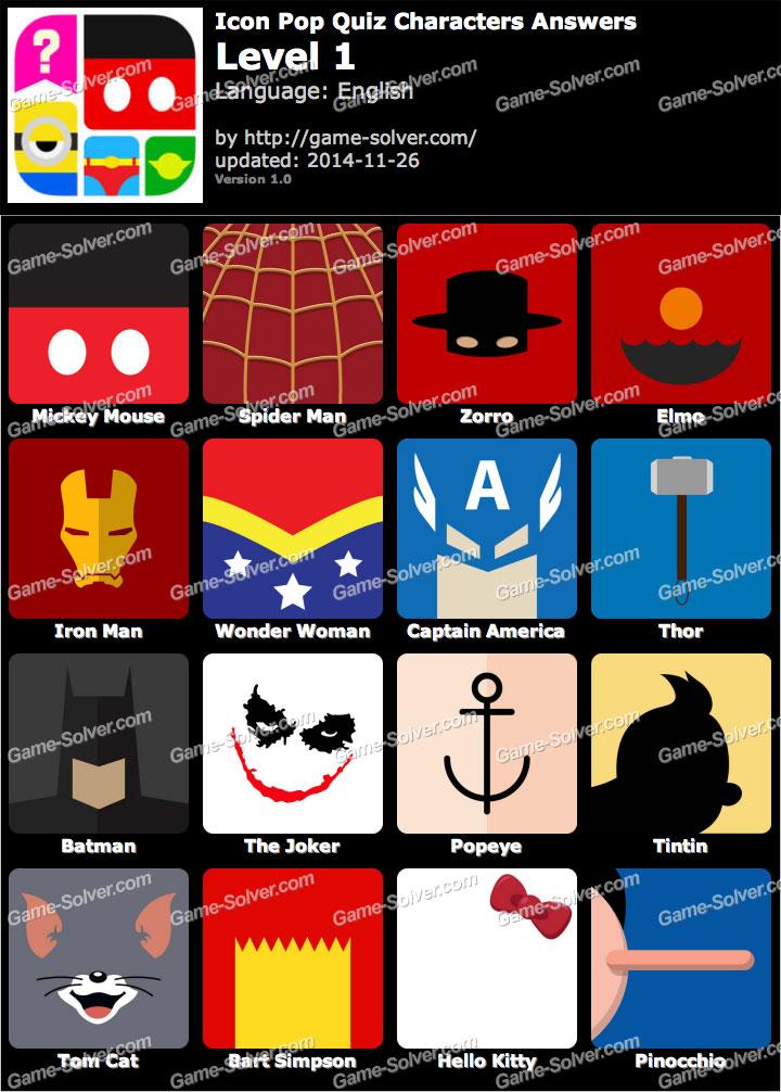 Icon Pop Quiz Characters Level 1
