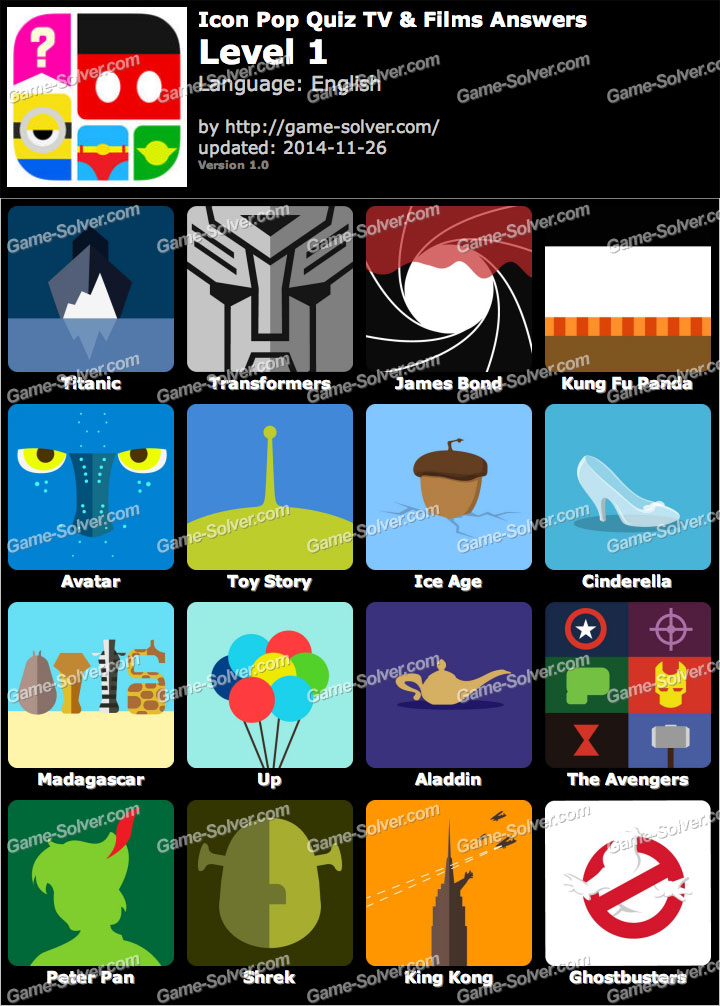 Icon Pop Quiz TV and Films Level 1
