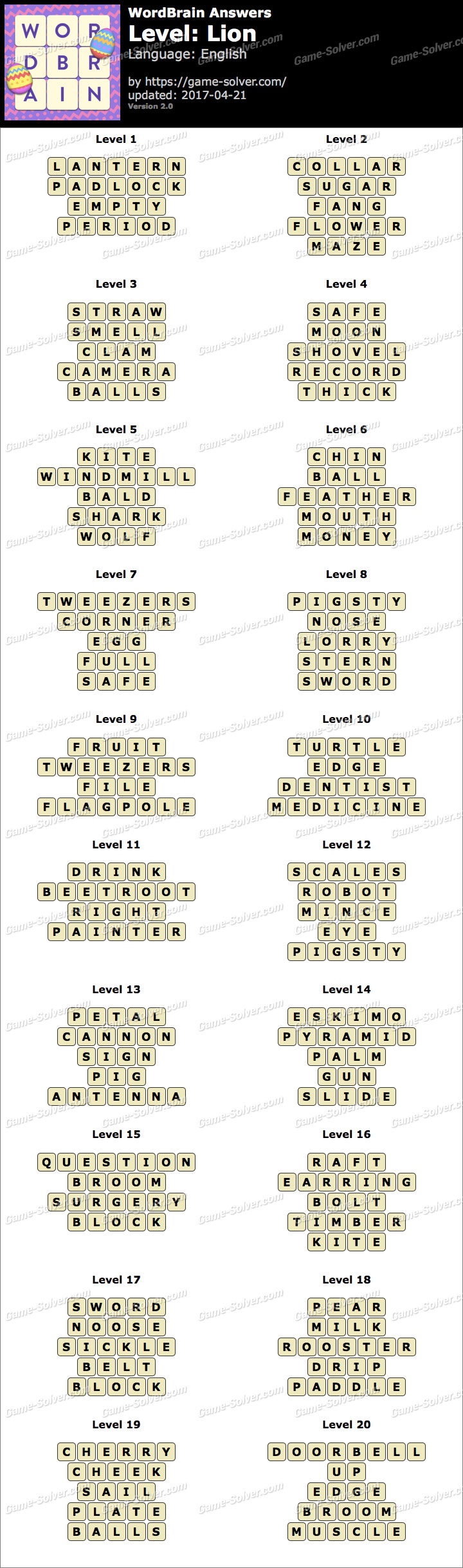 WordBrain Lion Answers - Game Solver