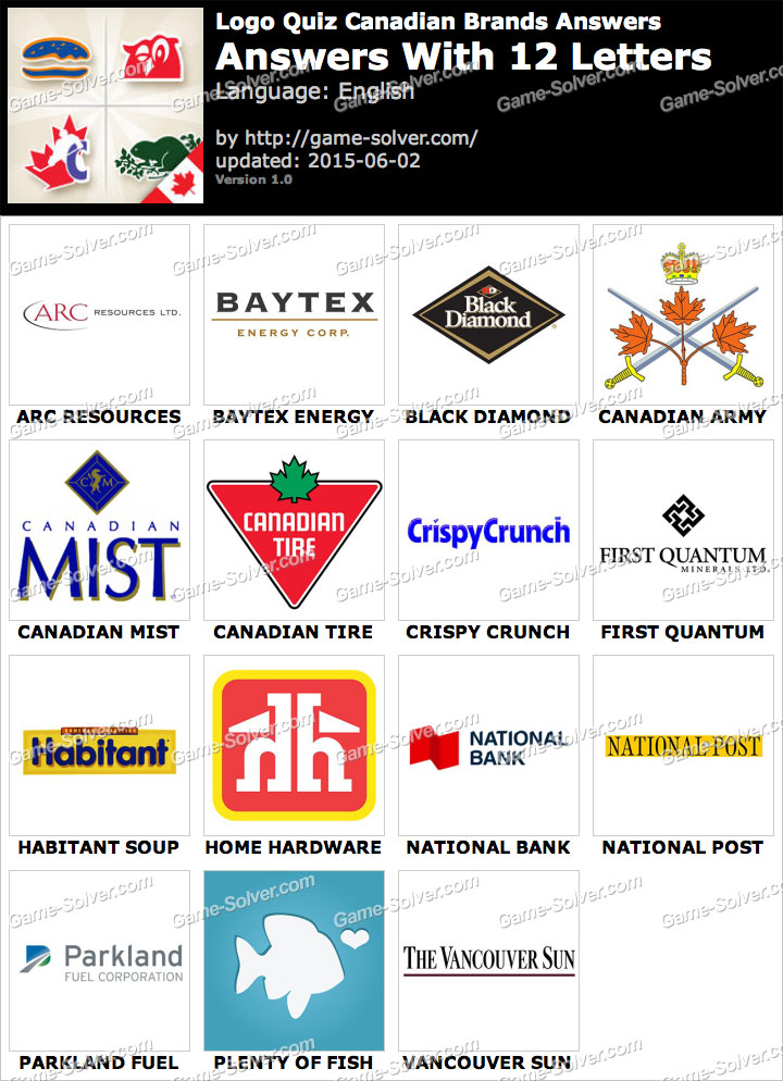 Logo Quiz Canadian Brands with 12 Letters