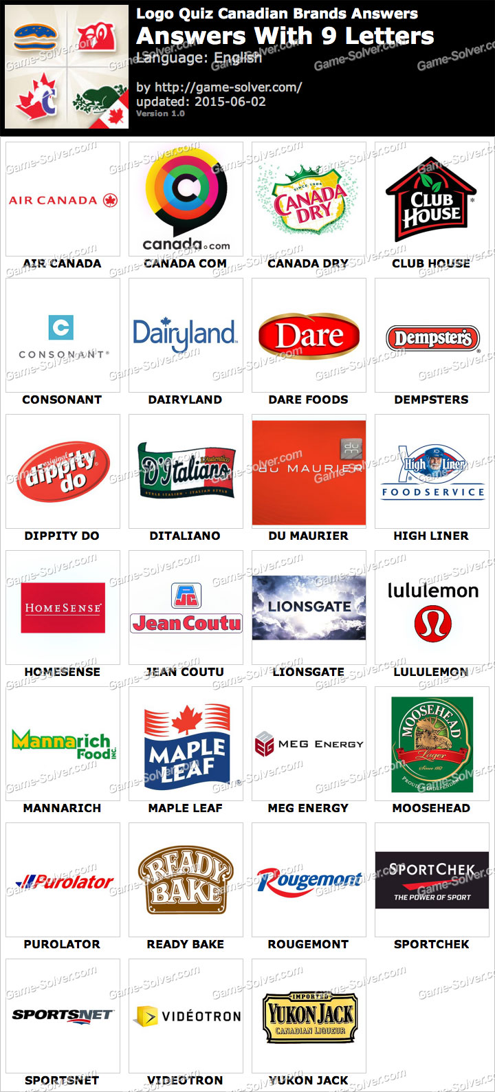 Logo Quiz Canadian Brands with 9 Letters