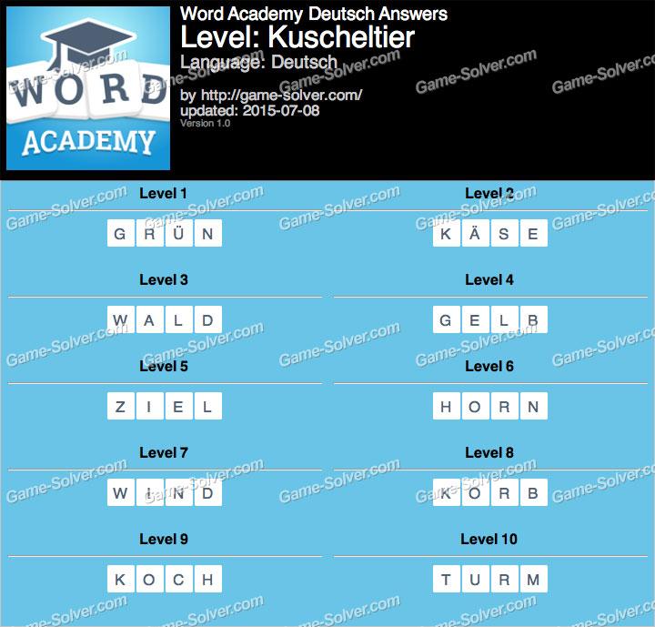 Word Academy Deutsch Kuscheltier Answers
