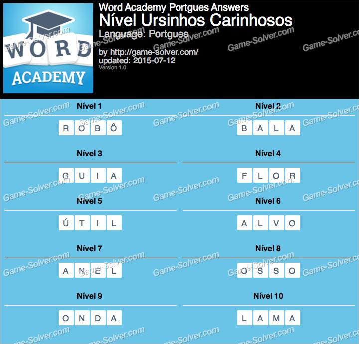 Word Academy Portgues Ursinhos Carinhosos Answers