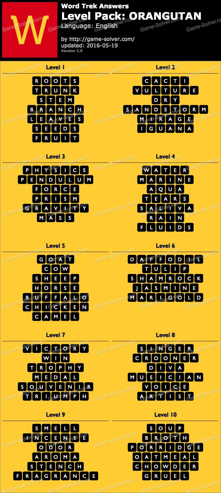 Word Trek Level Pack 51 ORANGUTAN Answers Game Solver