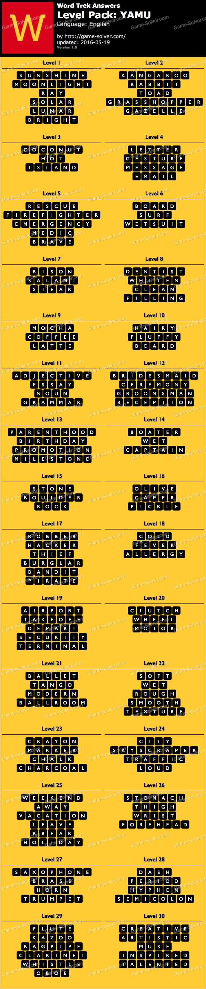 Word Trek Level Pack 65 YAMU Answers