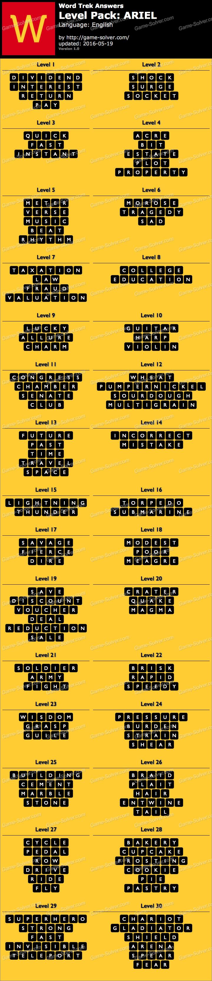 Word Trek Level Pack 76 ARIEL Answers