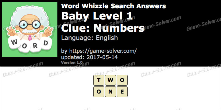 Word Whizzle Search Baby Level 1 Answers