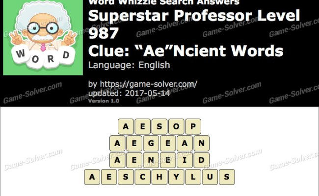 Word Whizzle Search Superstar Professor Level 987 Answers