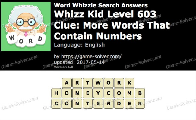 Word Whizzle Search Whizz Kid Level 603 Answers Game Solver