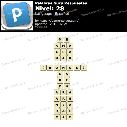 Palabras Gurú Nivel 28 Respuestas