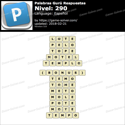 Palabras Gurú Nivel 290 Respuestas