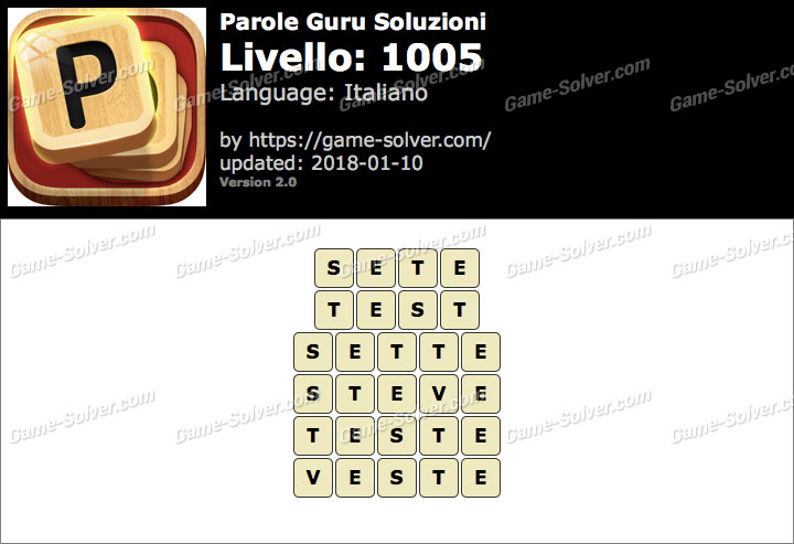 Parole Guru Livello 1005 Soluzioni