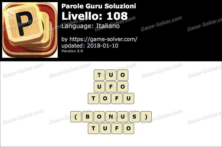 Parole Guru Livello 108 Soluzioni