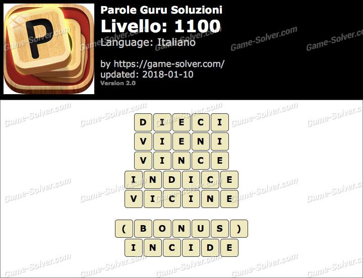 Parole Guru Livello 1100 Soluzioni