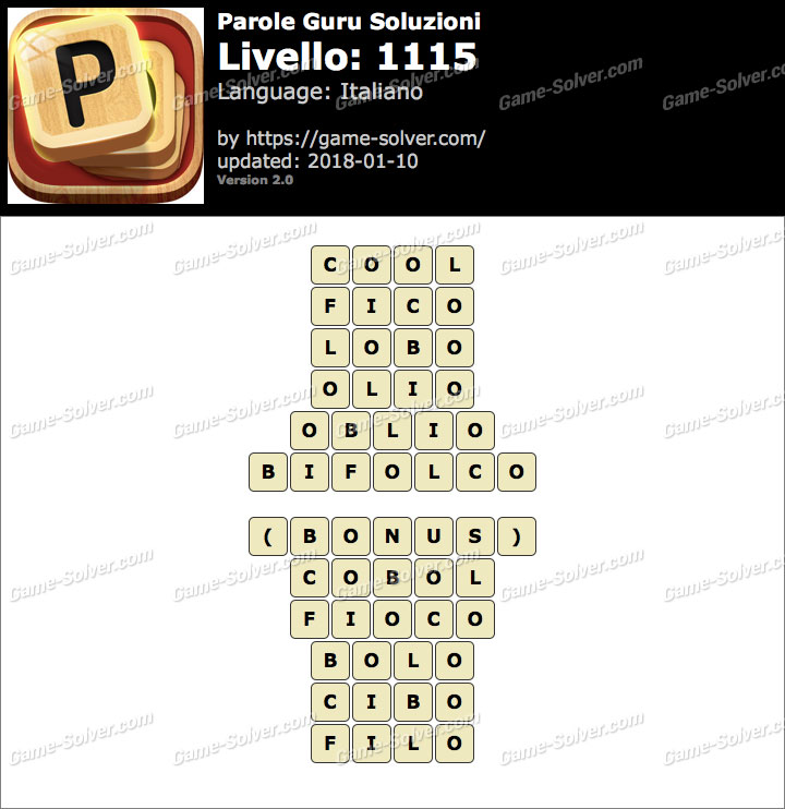 Parole Guru Livello 1115 Soluzioni