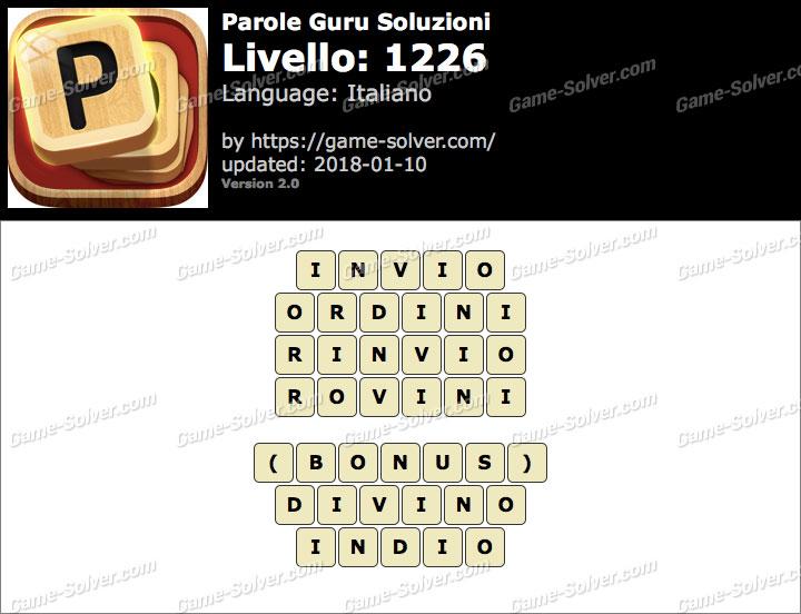 Parole Guru Livello 1226 Soluzioni