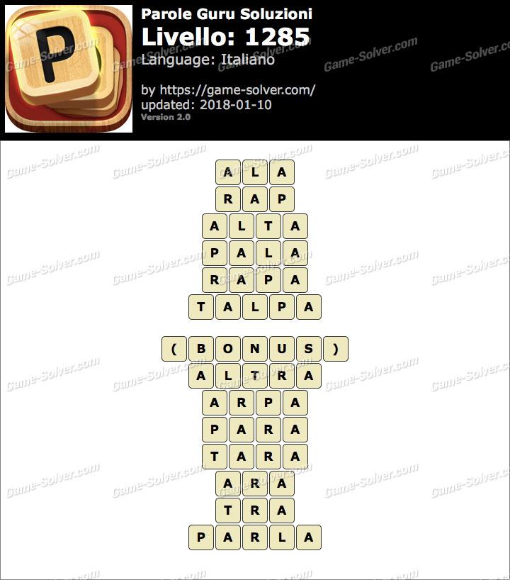 Parole Guru Livello 1285 Soluzioni