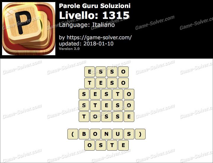 Parole Guru Livello 1315 Soluzioni