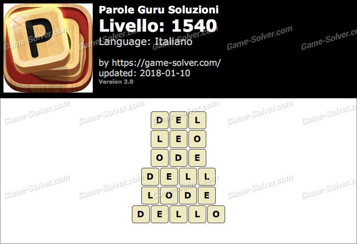 Parole Guru Livello 1540 Soluzioni