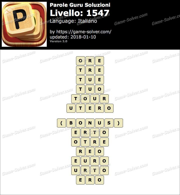 Parole Guru Livello 1547 Soluzioni