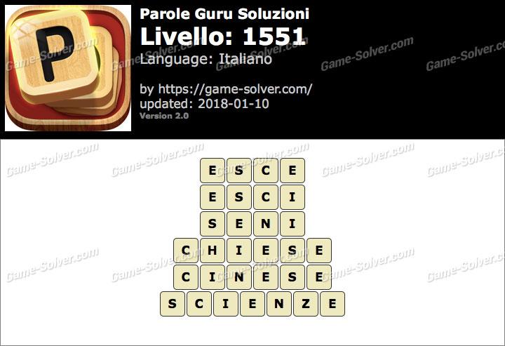 Parole Guru Livello 1551 Soluzioni