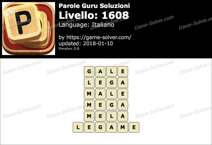 Parole Guru Livello 1608 Soluzioni