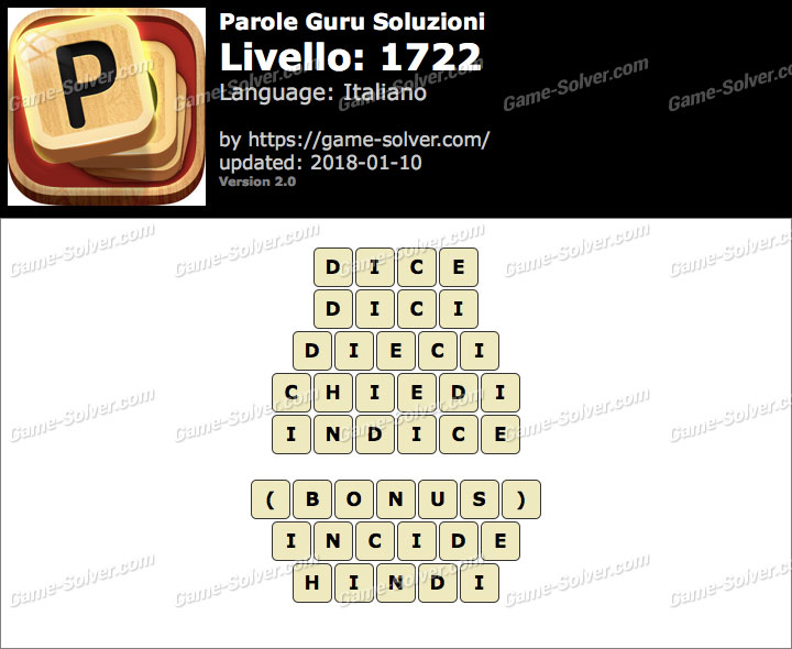 Parole Guru Livello 1722 Soluzioni
