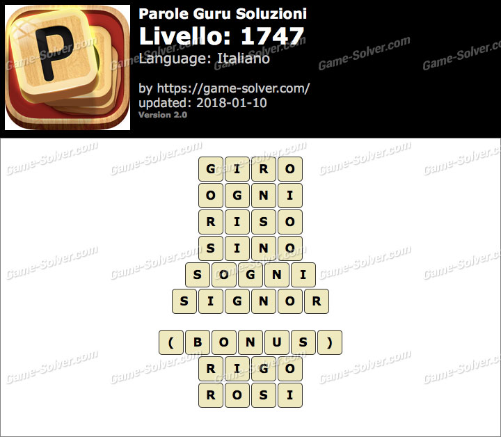 Parole Guru Livello 1747 Soluzioni