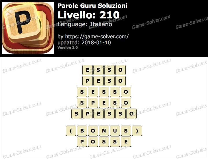 Parole Guru Livello 210 Soluzioni