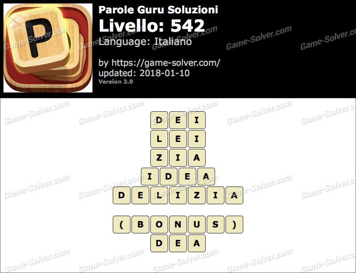 Parole Guru Livello 542 Soluzioni