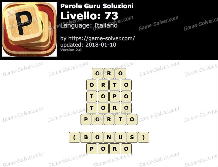 Parole Guru Livello 73 Soluzioni