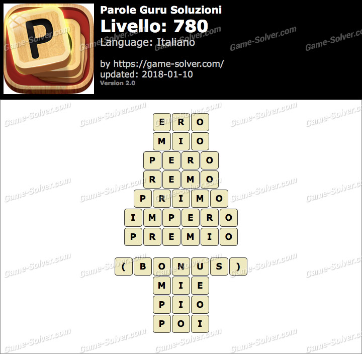 Parole Guru Livello 780 Soluzioni