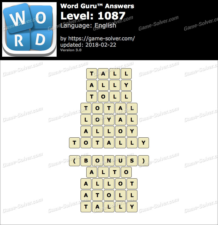 Word Guru Level 1087 Answers