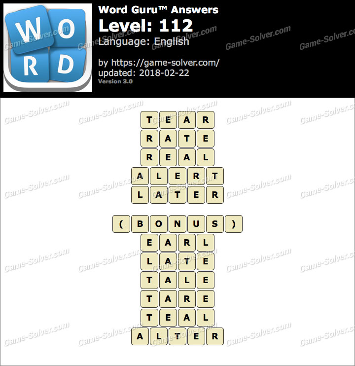 Word Guru Level 112 Answers